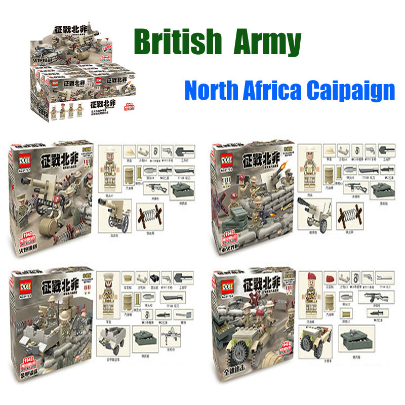 Oenux World War 2 UK British 8th Army North African Campaign Figures Military Model Building Blocks Brick Toy Compatible D163