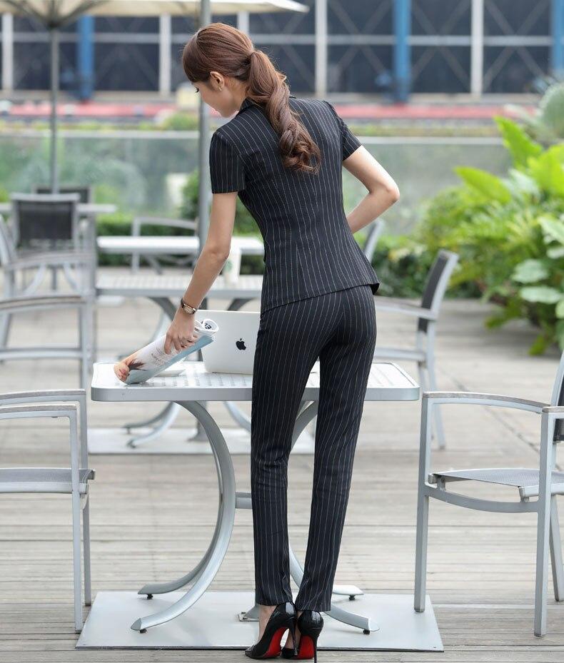 Bureau Pour Blue Ensemble Formelle Costume dark Et Femme Courtes Pantalon Nouvelle De Tops D'été Manches Uniforme Rayé Pantsuits Femmes Pantalons À Black Avec Conception xqwgT4w6