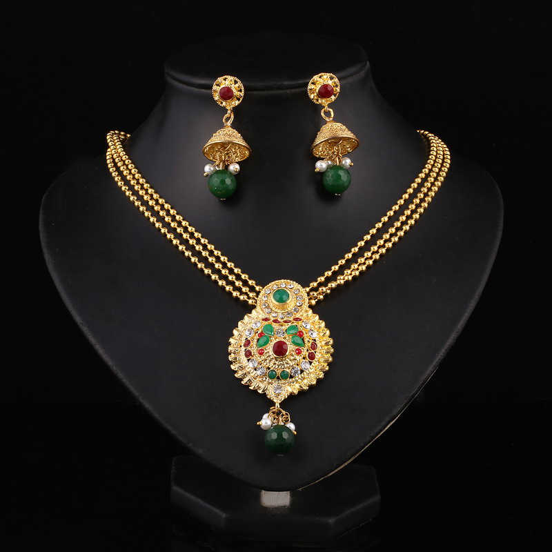 Hesiod Indian Wedding Jewelry Sets Gold Color Full Crystal Multi-layer Necklace Earrings Lovers Jewelry Set