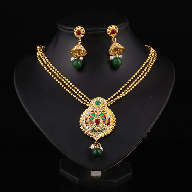 Hesiod Indian Wedding Jewelry Sets Gold Color Full Crystal ...