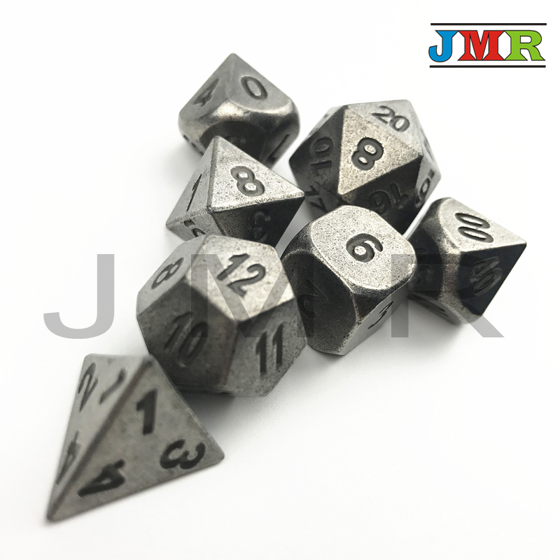 Alloy Metal D&d Dice Sets,Dados Rpg Cube Playing,Set of D4-D20 for Role Playing,tabletop Game,old Style Dice,with  Iron Box