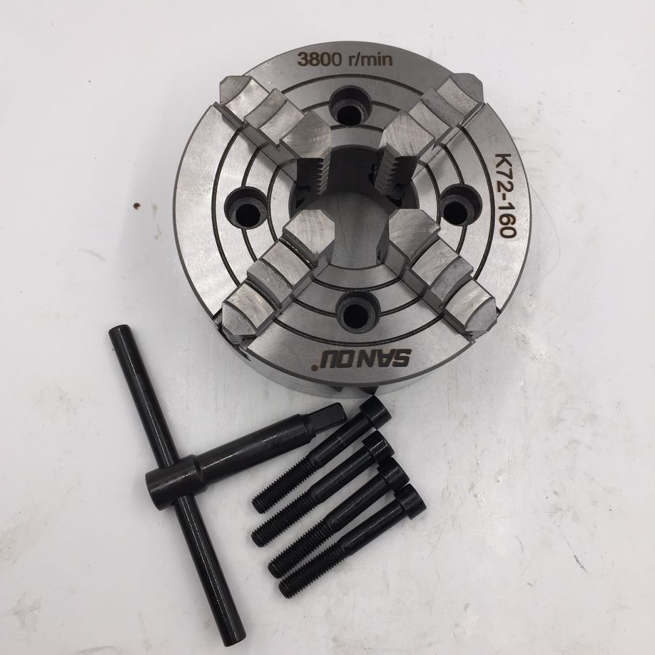 K72-160 160mm Lathe Chuck 4 Jaws Independent 6'' Four-Jaw Chuck Reversible K72 Series Chucks with Wrench and Screws 4 jaw lathe chuck for welding positioner four jaw independent chucks k72 80 welding machine parts