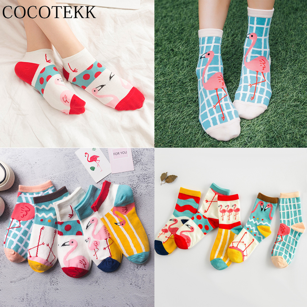 Women Socks Cool Flamingo Cotton Funny Harajuku Leaves Crew Casual Happy Socks Lovely Comfortable Kawaii Cute Trend Funny Socks