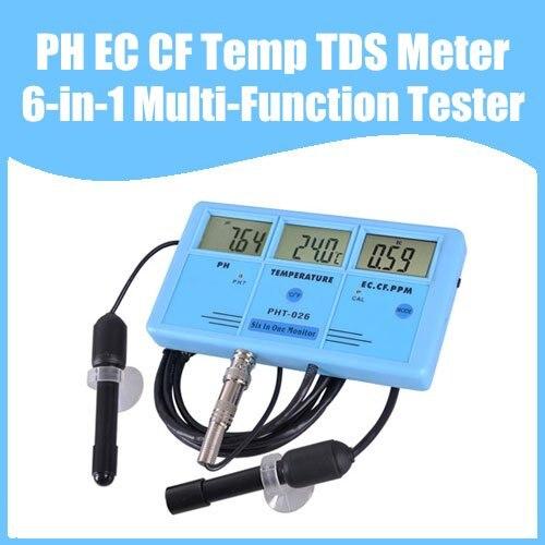 Free Shipping PH EC CF Temp TDS Meter Tester 6-in-1 Multi-Function Tester Water Testing Meter Multi-Parameter Water Monitor нож olfa с выдвижным лезвием с противоскользщим покрытием фиксатор 25мм ol nh 1