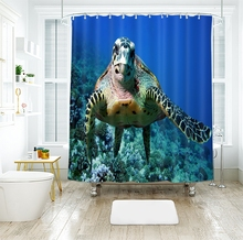 3d Animal Pattern Shower Curtains Landscape Sea Turtle Tiger Bathroom Curtain Thicken Waterproof Thickened Bath Curtain window sailboat sea waterproof bath curtain