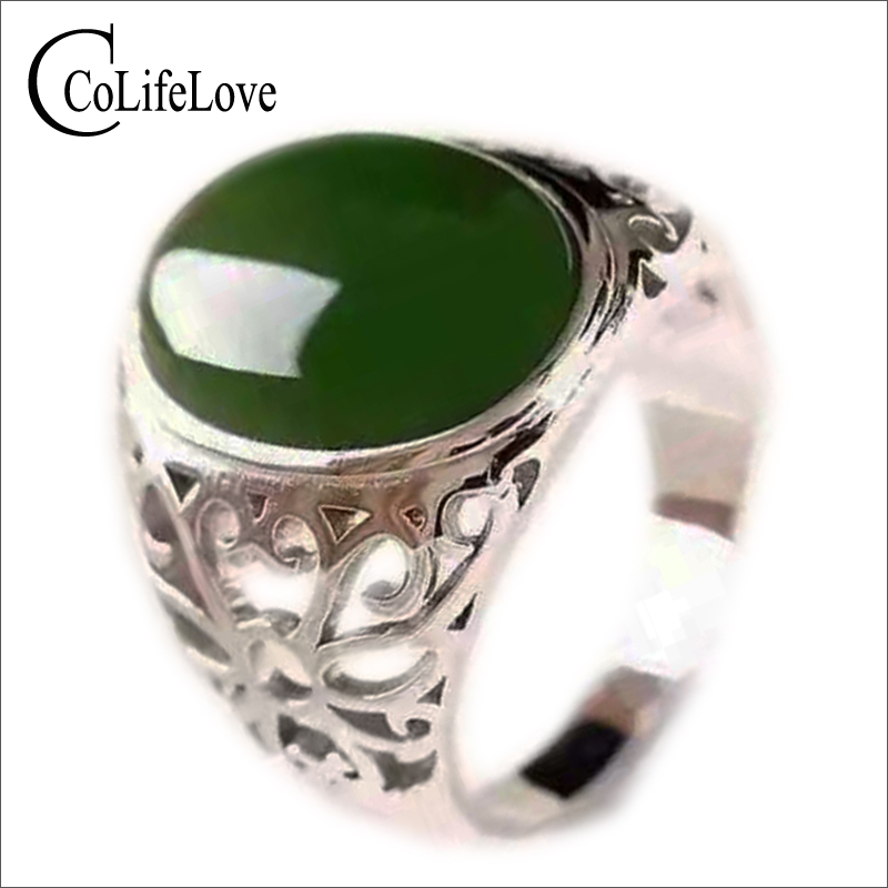 Max size silver man ring 12*16mm 10ct natural green jade ring for man solid 925 sterling silver jade ring best gift for man