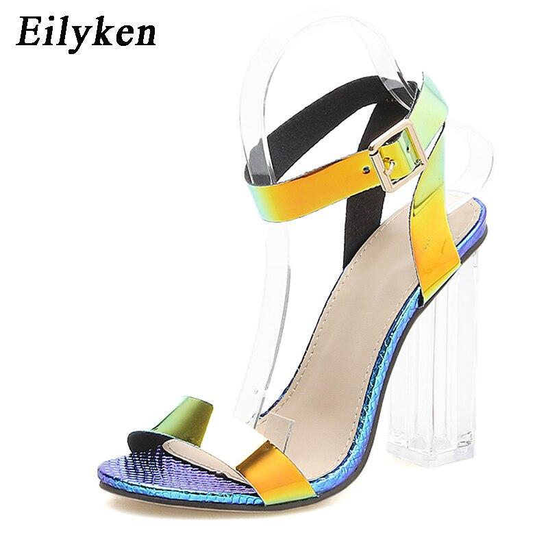 Женские сандалии на ремешке Eilyken, летние прозрачные сандалии на квадратном каблуке с открытым носком из ПВХ
