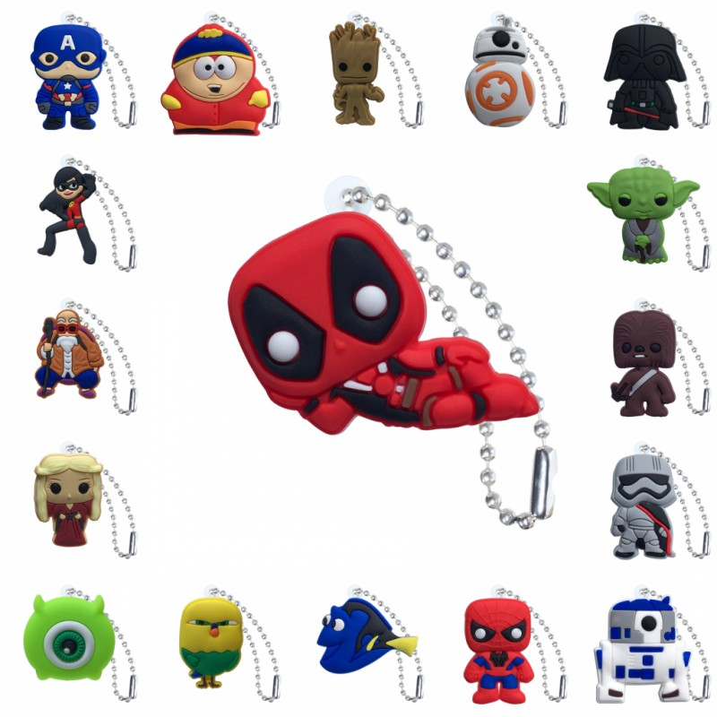 100pcs PVC Keychain Cartoon Figure Star Wars Key Marvel Avenger Chains Key Ring Super Hero Key Holder Fashion Charms Trinkets in Key Chains from Jewelry Accessories