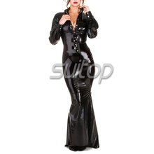 Suitop rubber latex shirt with dress&latex corset sexy floor-length dresses