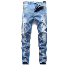 New Fashion Mens Ripped Skinny Jeans Pants Fanous Brand Designer Light Blue Distressed Denim Joggers Torn Jean Trousers For Man