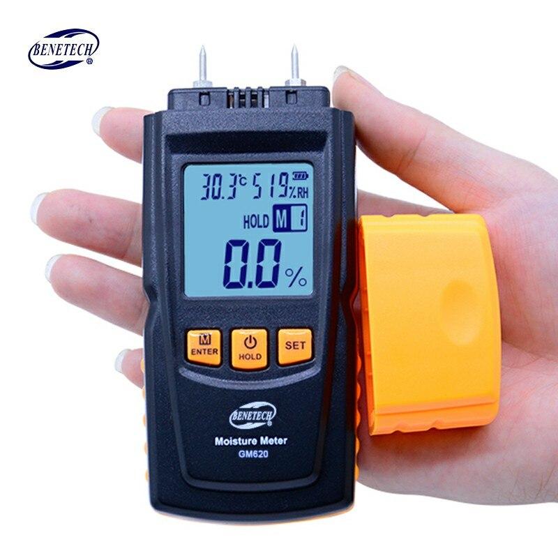 BENETECH GM620 numérique LCD affichage bois humidimètre 2 ~ 70% testeur d'humidité double sonde d'essai bois détecteur d'humidité portable - 2