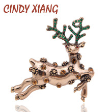 CINDY XIANG Cute Rhinestone Deer Brooches for Women Christmas Gift Pins Colorful Jewelry Party Dress Coat Accessories New 2018