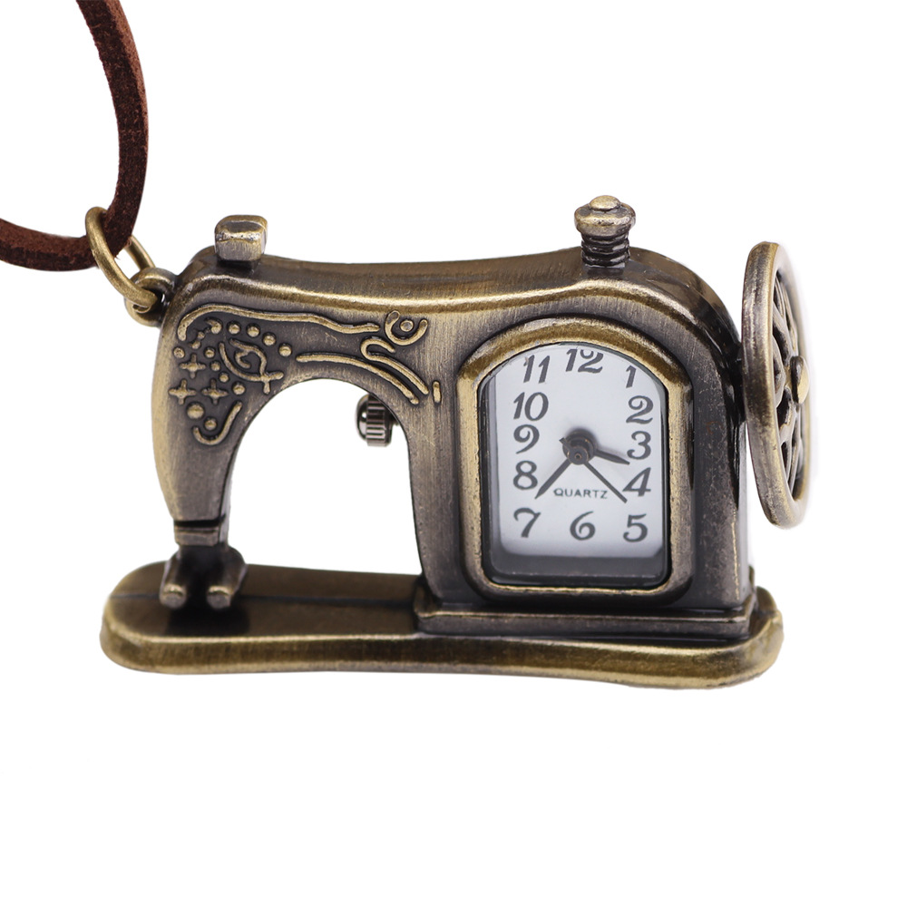 Retro Antique Bronze Alloy Sewing Machines Pendant Pocket Watch Christmas Gift for Women Men