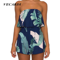 Summer Playsuit Elegant Women Jumpsuit Romper Strapless Floral Print Ruffles Backless Sexy Bodysuit Casual Bodycon Overalls