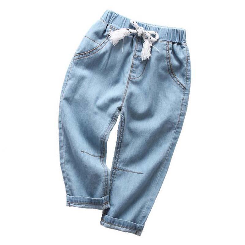 Kids Boys Girls Blue Denim Pants Casual Trousers Children Casual Jeans 2-10Y