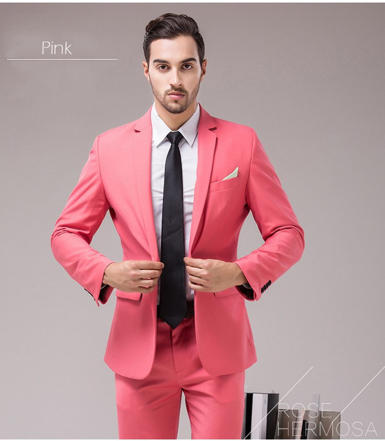 f9706980047 Costume Homme custom made men suit tuxedo champagne tuxedo mens suit with  pants men tux brand clothing neon pink wedding suits