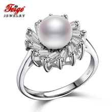 FEIGE Trendy style 7-8mm White Freshwater Pearl Wedding Ring Genuine 925 Sterling Silver Rings for Women Bride Accessories