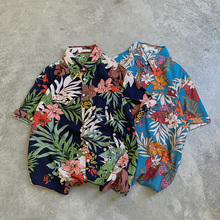 Vintage Mens Shirts Flower Printing Mans Shirt Darkblue Lightblue S-XL Casual Men Short Sleeve