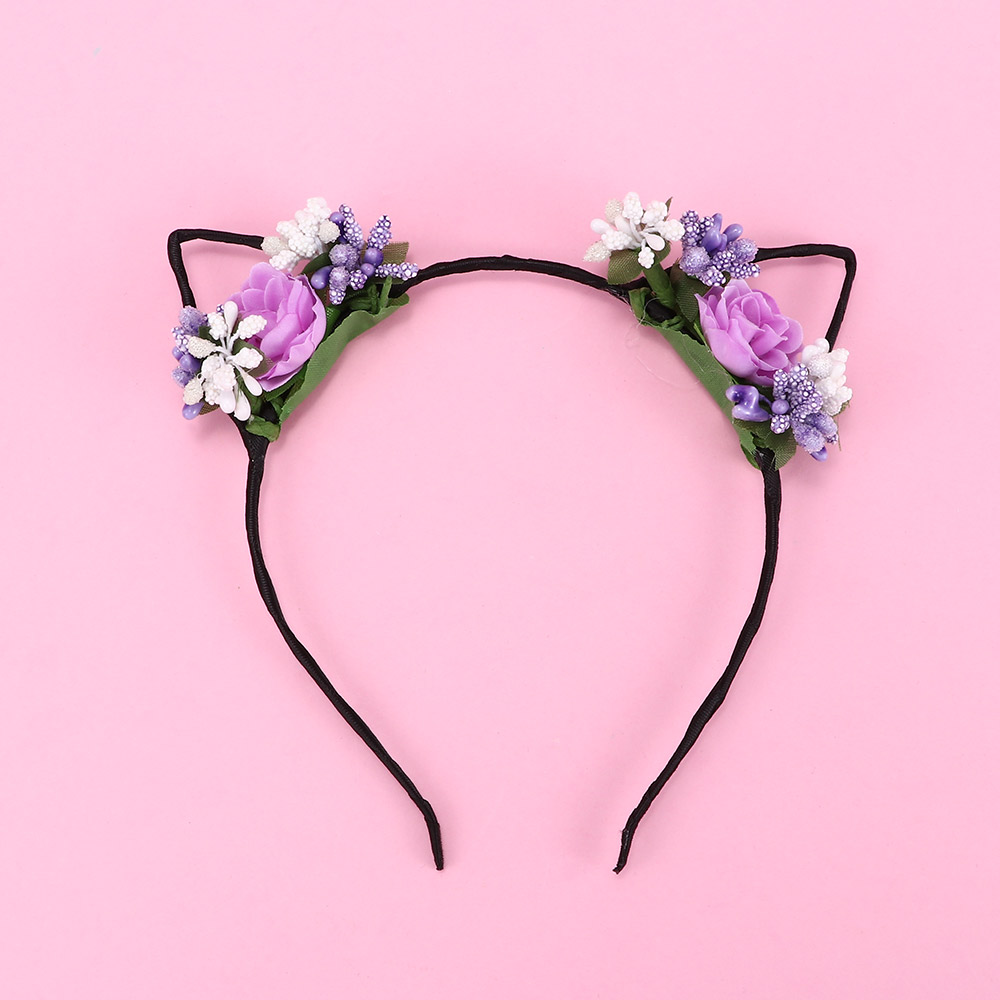 1pc Lovely Hair Hoop   Headwear   Fashion Children Girls Cute Rose Flower Cloth Headband Cat Ear Headband Hair Bands