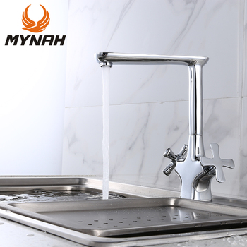 MYNAH Kitchen faucet Single Hole Dualm Holder Water Tap Deck Mounted Faucet