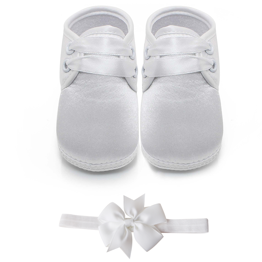 Delebao Lace-up Baby Boy Christening & Baptism Shoes Infant Toddler Newborn Pure White Christening Shoes