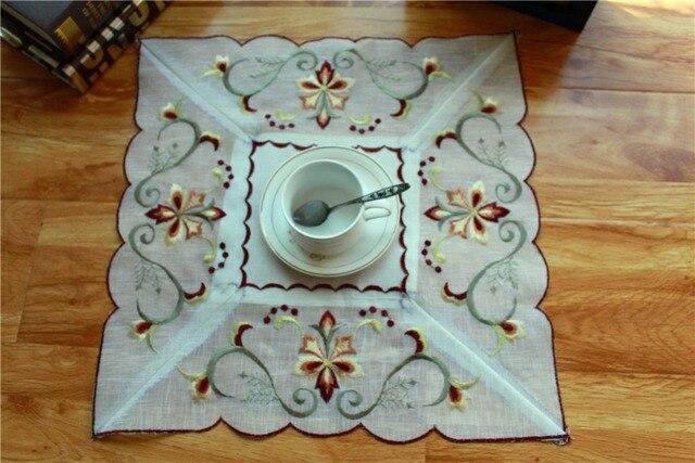 Vintage ricamo raso di cotone posto tabella zerbino tovaglietta ...
