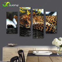 4 Panel Leopard Pictures Oil Painting Wall Art Canvas Pop Art Cuadros Decoracion HD Prints For