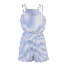 Summer Rompers Women Jumpsuit Sexy Ladies Cotton Jumpsuit Female Striped Romper Short Trousers Bodycon Blue Romper Playsuit(China)