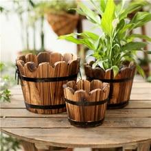 Florero de madera Vintage, cubo, organizador de almacenamiento para flores artificiales, boda, Navidad, hogar, decoración de jardín