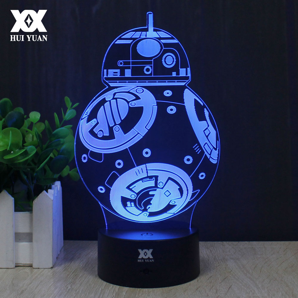 Star Wars Lamp New BB-8 3D Lamp Millennium Falcon LED Novelty Night Lights USB Light Glowing Children's Gift HUI YUAN Brand batman 3d lamp led remote control night light usb 7 colors changing decorative table lamp interesting gift hui yuan brand