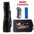 CREE XML T6 LED Flashlight 6000 Lumens Lanterna High Power Adjustable led Torch Zoomable Flashlight + Charger +1* 18650 Battery
