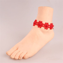 Pure Manual Sexy Red Pearl Red Lace Anklets For Women Chain Anklet Bracelets Gift LS49