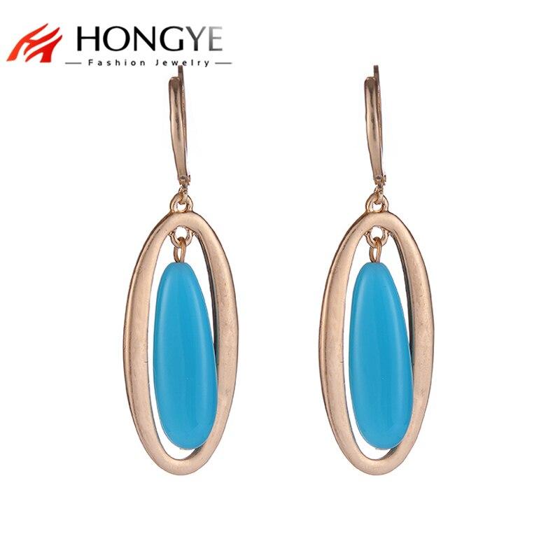 2017 New Women Gold/Silver Blue/Black Resin Ethnic Vintage Beads Statement Dangle Earrings for Women Girls