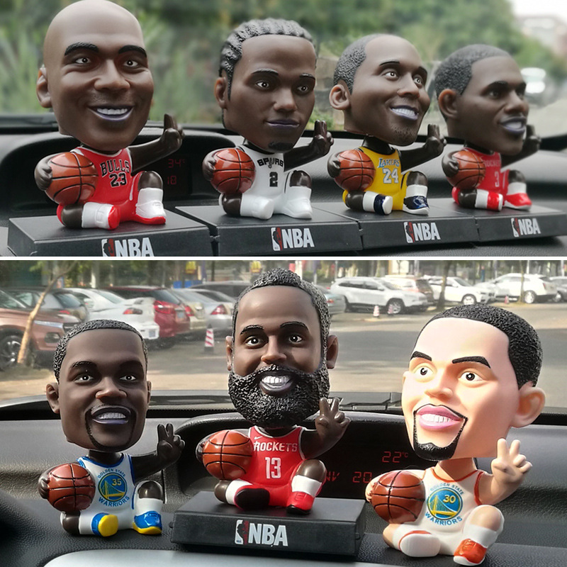 13cm Football/Basketball Stars PVC Action Figure C Ronaldo JUV 7 Messi James Bobble Head Dolls Model Toys Car Decoration Gift