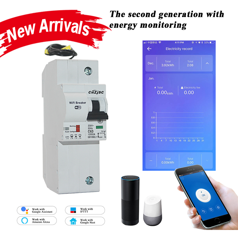 1P WiFi Smart Circuit Breaker with Energy monitoring compatible with Alexa and Google home for Smart home with RS485-in Circuit Breakers from Home Improvement