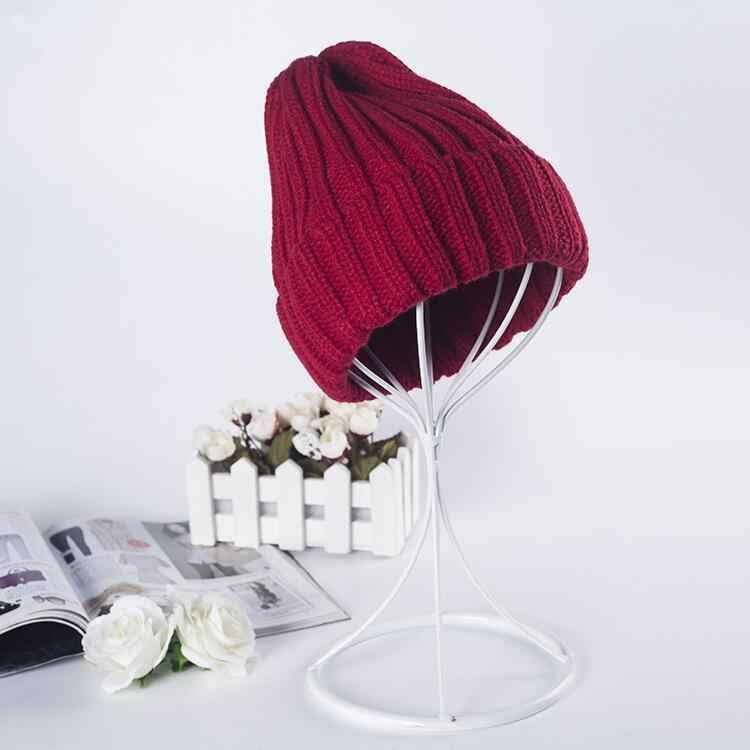 قبعة الإناث للجنسين القطن الصلبة الدافئة لينة الساخن الهيب هوب المرأة قبعات شتوية من التريكو للرجال النساء قبعات Skullies بيني بالجملة