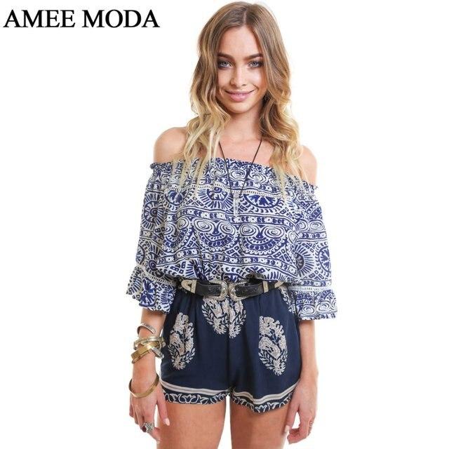 da12ac9c85e90 Boho Blue White Floral Print Slash Neck Half Sleeves Off Shoulder Blouse  Fashion Top Shirt