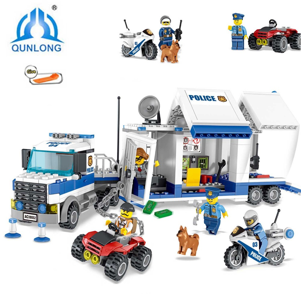 цена на qunlong Toys Police Series Buliding Blocks Compatible Legoing City DIY Police Command Center Bricks Blocks Set Child Kids Toys