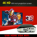 INICIO HDMI 3D HD 6500 lúmenes PROYECTOR 4 K 1280X800 Bluetooth Android Wifi DLP Proyector 3D Con 2 Unids 3D Regalo de Cristal en
