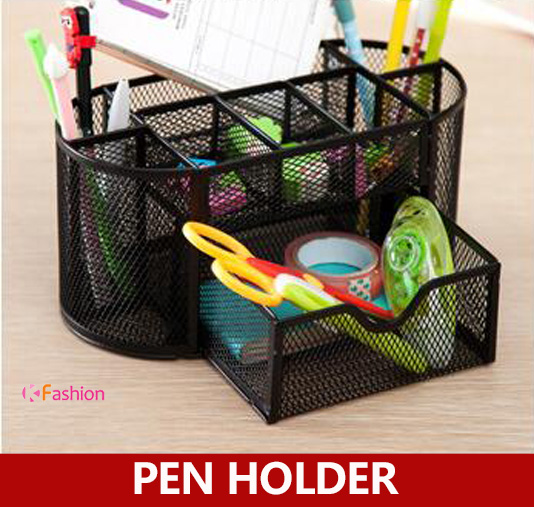 Mesh Metal Drawer-style Desk Organizer , Metal Large Capacity Colorful Pencil Holder , Pen Holder 9 grids metal mesh desk organizer with drawer colorful student home office new supplies desktop stationiery holder