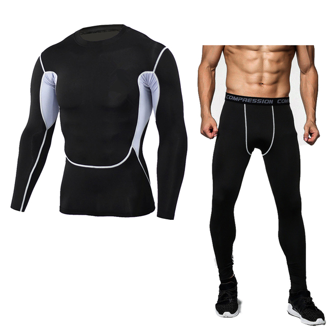 04dd5f7179cd 2017 Men Brand Camouflage Mens Compression Sets Pants And Shirt Lycra  Crossfit Fitness T-shirt