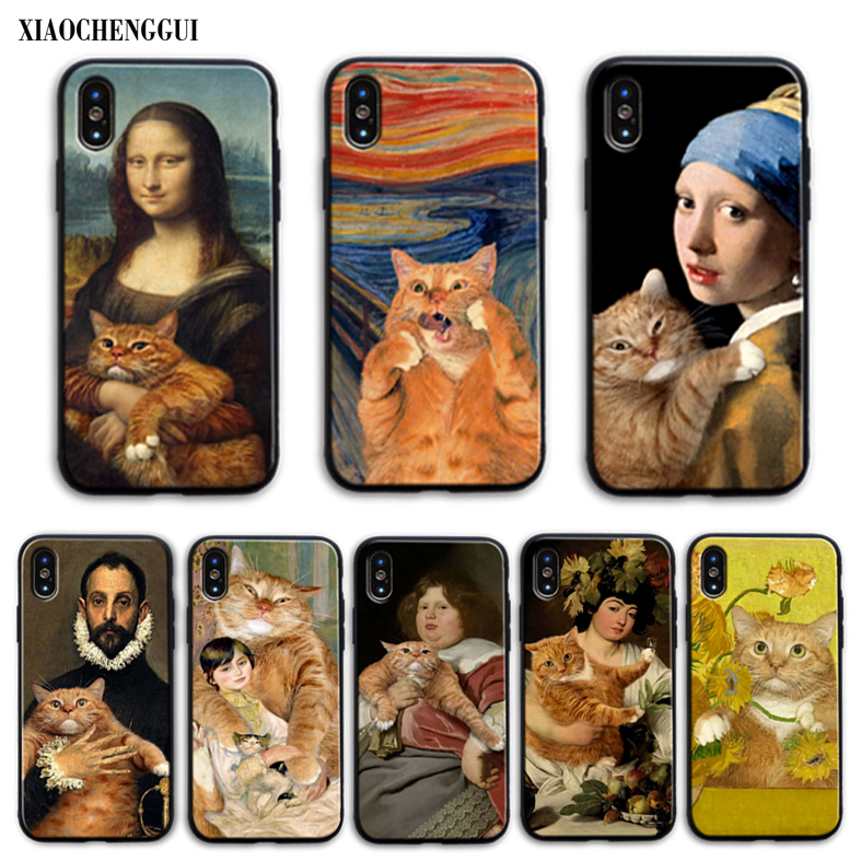 Famous painting Orange <font><b>cat</b></font> Soft Silicone TPU Phone Cover for <font><b>iPhone</b></font> 11 pro 6S 6 plus 7 7 plus 8 8 Plus X Xs MAX <font><b>5</b></font> <font><b>5</b></font> S XR <font><b>case</b></font> image