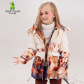 KAMIWA 2016 Girls Winter Coats Floral Printing White Duck Down Jackets Cotton-padded Parkas Clothes Children Girls Clothing