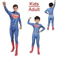 HOT!Adults Kids Superman Cosplay Costume Spandex Bodysuits Jumpsuits Men Super Hero Halloween Costumes Zentai Suit