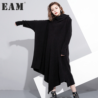 [EAM] 2018 Lapel Knitting Solid Dress Autumn New Pattern Long Sleeve Irregular All match Loose Big Size Dress Women AS171