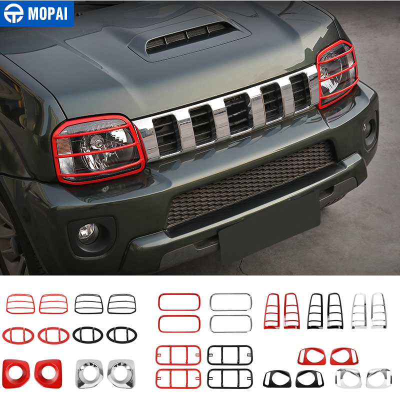 MOPAI Lamp Hoods for Suzuki Jimny 2007 Up Car Front Headlight Turning Light Tail Fog Lamp Decoration Cover Kit Car Accessories