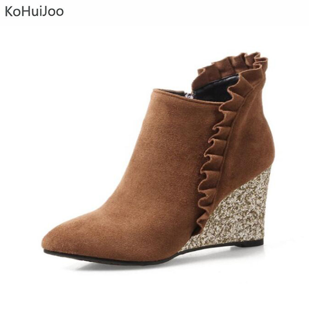 KoHuiJoo 33-44 Big Size Women Wedges Ruffles Pointed Toe Ankle Boots Heel Ankle Women Zip Shoes Elegant Spring Autumn 2017 new spring autumn big size 11 12 dress sweet wedges women shoes pointed toe woman ladies womens
