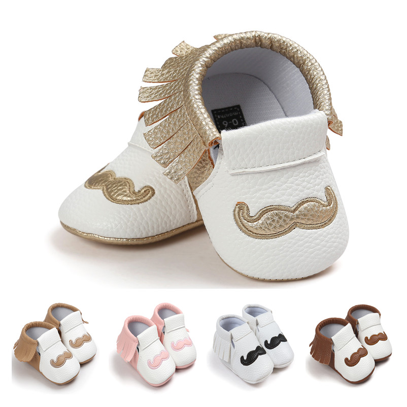 PU Leather Baby Moccasins Tassel Mustache Beard Shoes First Walkers Anti-slip Footwear Toddler Soft Shoes For Baby 0-18 Month