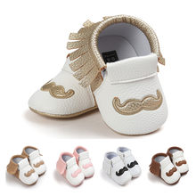 PU Leather Baby Moccasins Tassel Mustache Beard Shoes First Walkers Anti-slip Footwear Toddler Soft Shoes For Baby 0-18 Month(China)
