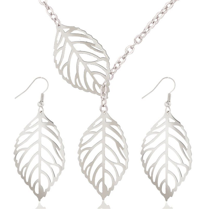 New Fashion Jewellery Sets Simple Leaves Hollow Pendants Pendants Earrings Chains & Necklaces Jewellery Set Gifts